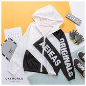 Catworld 雙色防風連帽運動外套【15003508】‧F/XL