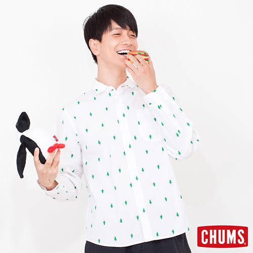 CHUMS 日本 男 印花風格 長袖襯衫 白 CH0205587545