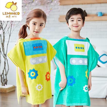 兒童機器人卡通套頭浴巾