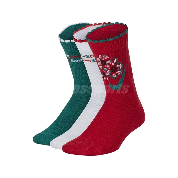 Nike 襪子 Everyday Cushioned 紅 綠 女款 兒童款 中筒襪 一組三入【ACS】 CQ0976-909