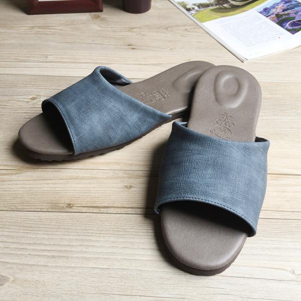 台灣製造-風格系列-渲色皮質室內拖鞋-藍