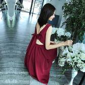 洋裝 V領被蝴蝶結綁帶A字連身裙-媚儷香檳-【D1118】