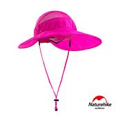 Naturehike 戶外百搭高防曬大帽簷輕巧可折疊遮陽帽 圓盤帽 玫紅