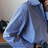 熱銷長袖襯衫藍色條紋襯衫女設計感小眾長袖襯衣女2020新款寬鬆上衣外套女秋冬