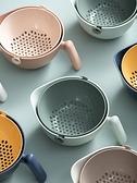 家用洗菜盆瀝水籃帶手柄廚房雙層瀝水盆洗菜籃塑料盆