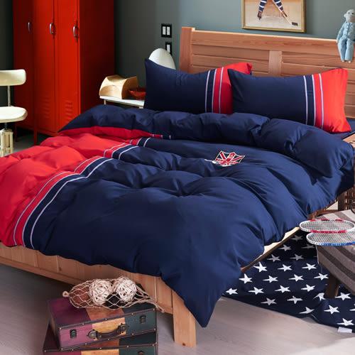 時尚英倫 貼布繡 單人三件式鋪棉兩用被床包組/RODERLY