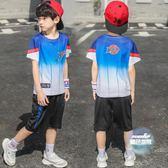 兒童套裝 男童夏季速幹衣套裝2019新款男孩夏裝籃球服兒童運動兩件套中大童 4色