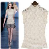 歐美夏裝新款高立領蕾絲雪紡衫短袖大碼女t恤無袖網紗上衣