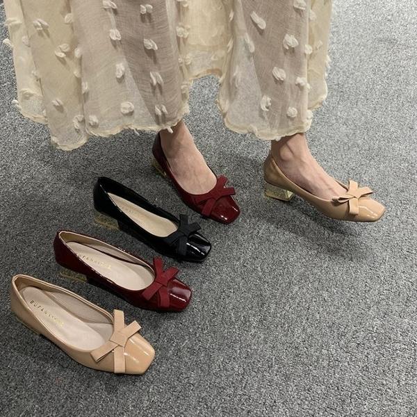 粗跟單鞋女新款韓版百搭中跟鞋學生蝴蝶結一腳蹬瑪麗珍奶奶鞋 新年禮物