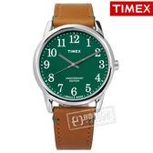 TIMEX 天美時 / TXTW2R35900 / 美國指標40週年紀念專利冷光照明真皮手錶 綠x駝 38mm