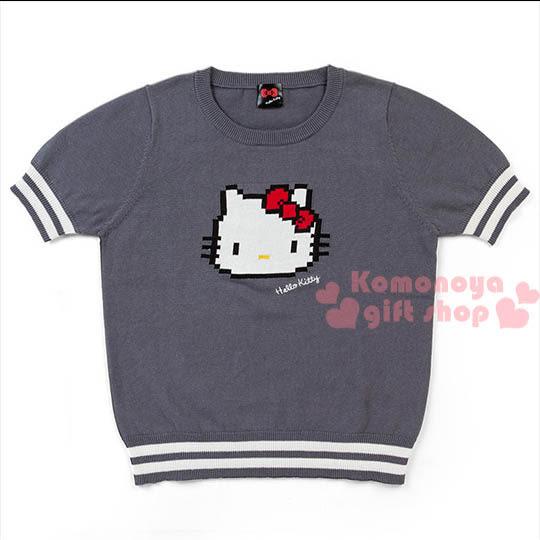 〔小禮堂〕Hello Kitty 短袖針織上衣《灰.大臉》位元系列4901610-51671