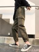 工裝褲黑色工裝褲子女秋冬顯瘦高腰小個子寬鬆bf厚束腳褲直筒ins潮 交換禮物