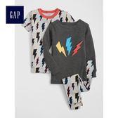 Gap男嬰幼童 圓領鬆緊腰長袖和短袖內衣套裝家居服 468247-旅途灰