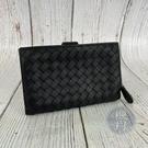 BRAND楓月 Bottega Veneta BV 經典 黑色 編織 皮革 二折 皮夾 中夾 錢包 錢夾