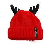 大紅色可愛小鹿角毛線帽針織帽子女秋冬季兒童男寶寶圣誕新年過年