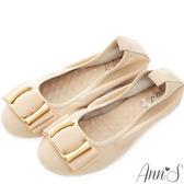Ann'S優雅氣質-織帶金釦小羊皮摺疊鞋 杏