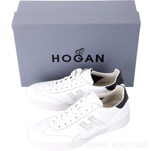 HOGAN H357 H 穿孔皮革繫帶休閒鞋(男款/白色) 1830219-20
