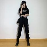 束腳工裝褲女顯瘦高腰夏季新款黑色休閒直筒寬鬆百搭潮運動褲子薄