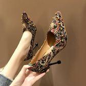 春季鉚釘高跟鞋女細跟尖頭淺口水鑚單鞋時尚百搭女鞋    蘑菇街小屋