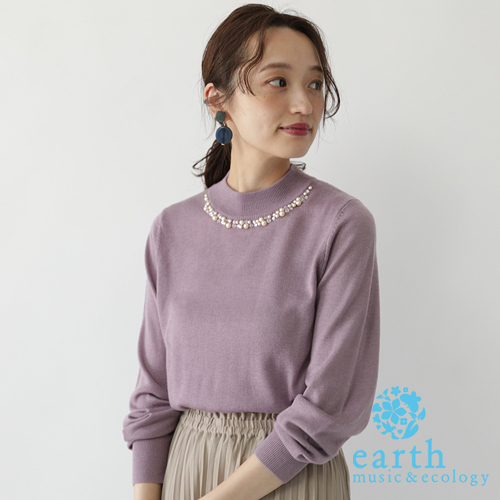 「Autumn」 珍珠領口裝飾素面/橫條紋針織上衣 - earth music&ecology