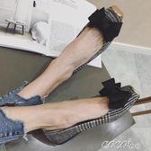 魚嘴單鞋 舒適單鞋女秋軟底淺口平底工作鞋韓版復古蝴蝶結平跟船鞋 coco衣巷