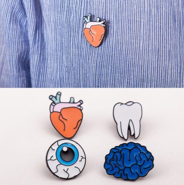 歐美 日韓 彩色 滴油 人體器官 胸針 胸花 大腦 眼睛 牙齒 胸針