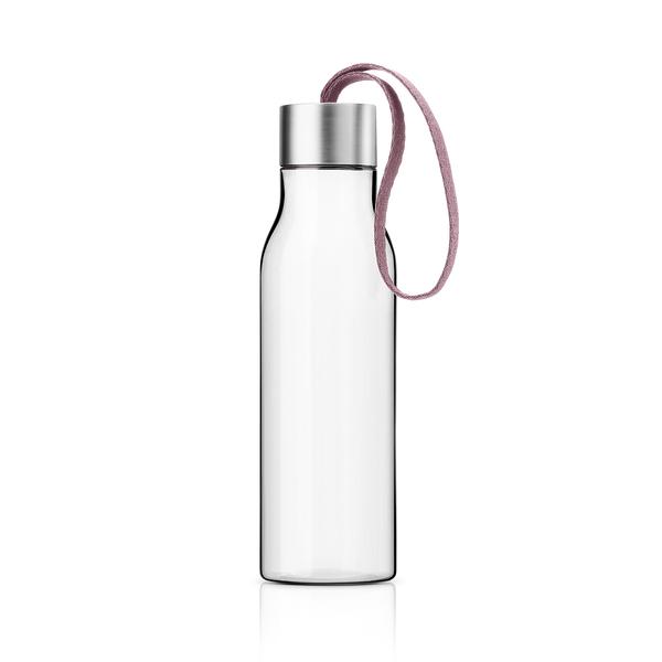 丹麥 Eva Solo Drinking Bottle 500cc 輕巧 透明 隨行冷水瓶(霧銀蓋 - 薔薇粉色緞帶)