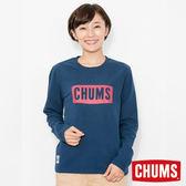 CHUMS 日本 女 LOGO 長袖圓領T恤 深藍 CH111284N001