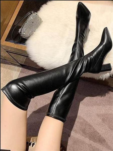 長筒靴 過膝長靴女高跟2020秋冬新款高筒顯瘦彈力靴子粗跟尖頭瘦瘦靴