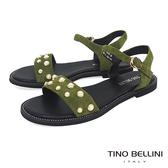 Tino Bellini 綺麗華美鑲嵌珍珠平底涼鞋 _ 綠 A83090
