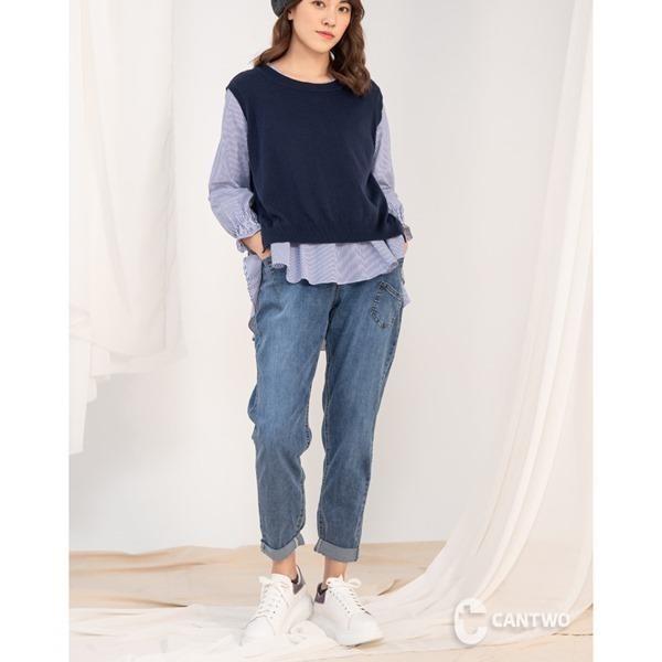 【南紡購物中心】CANTWO鬆緊彈力男友褲-藍色