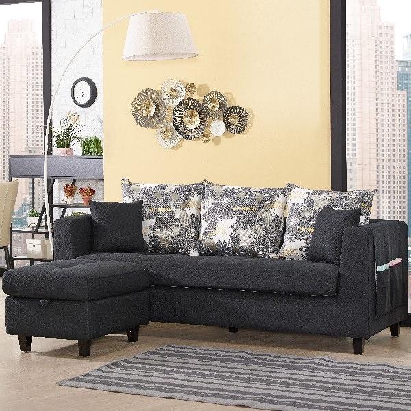 沙發 L型布沙發 QW-229-4 紗南L型黑色布沙發 (可左右擺放) 【大眾家居舘】