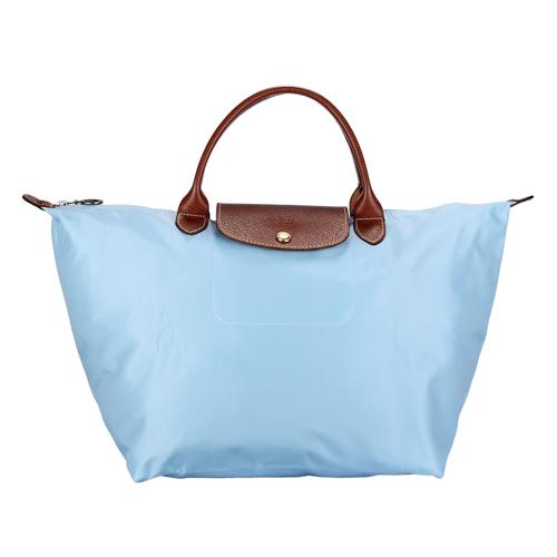 LONGCHAMP短提把中型尼龍摺疊水餃包(水藍色)480101-A30