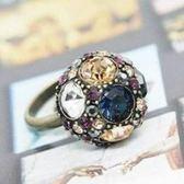 ♥巨安網購♥【GJZ0251】 歐美風尚 蘑菇頭復古彩鑽 圓球時尚百搭戒指