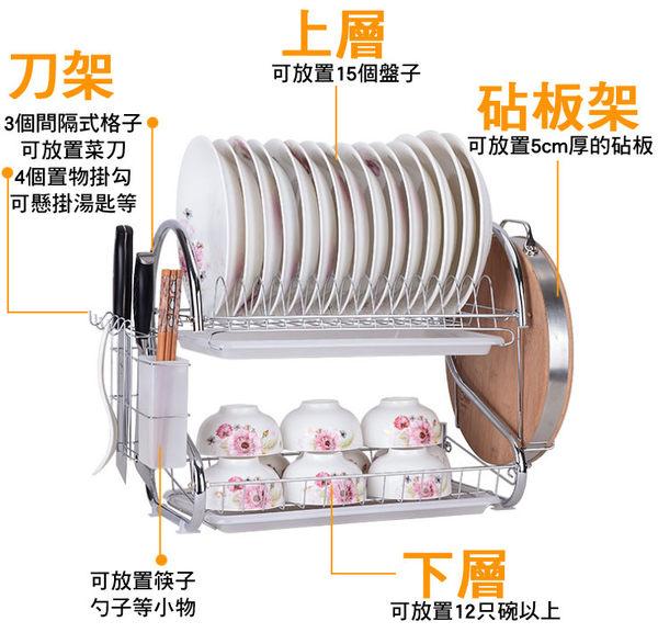 【樂youyou】不鏽鋼雙層碗盤架(附上+下層瀝水盤)(砧板款) 砧板架 碗架 瀝水架 餐盤架▶可超取◀