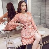 洋裝-長袖V領鏤空蕾絲收腰女連身裙2色73pu63[巴黎精品]