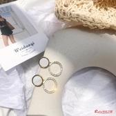 耳環 韓國超仙氣質女耳釘百搭幾何圓圈鏤空鑲鉆耳環個性網紅創意耳飾 快速出貨