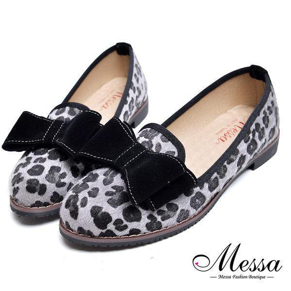 【Messa米莎專櫃女鞋】MIT經典豹紋復古大蝴蝶結絨毛低跟樂福鞋-灰豹色