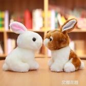 兔子毛絨玩具韓國可愛仿真兔兔公仔小白兔玩偶少女心娃娃小號女生『艾麗花園』