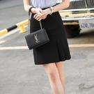 簡約下擺壓摺端莊上班/休閒及膝裙 [20X001-PF]美之札--顯瘦A字裙