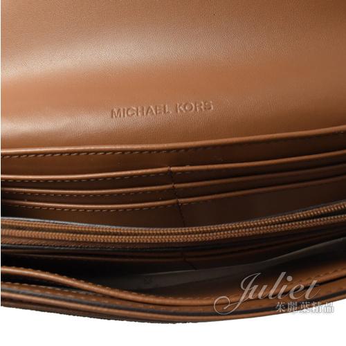 茱麗葉精品【全新現貨】MICHAEL KORS FULTON 圓形MK 拼色造型扣式長夾.深棕