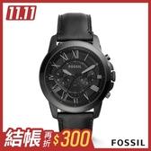 FOSSIL GRANT 黑色帥氣皮革計時男錶 45mm