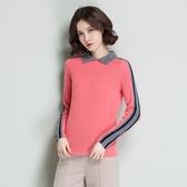 羊毛針織衫-POLO領短款修身撞色條紋女毛衣4色73uj15【巴黎精品】