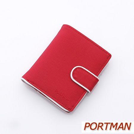 PORTMAN簡約防水對折短夾(熱情紅)PM122002