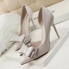 2020春夏新款韓版細跟尖頭單鞋子淺口側空蝴蝶結高跟鞋10CM白色女 618購物節