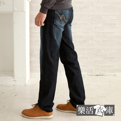 【P670-1】MIT波點繡線刷色伸縮中直筒牛仔褲(深藍)● 樂活衣庫