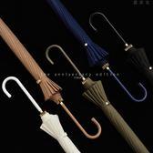 16骨防風長柄傘創意字母燙金皮質彎手柄晴雨傘女