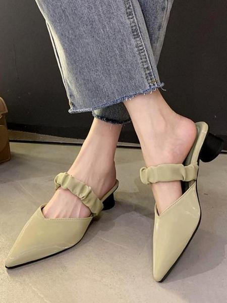 穆勒鞋 2021春夏季新款尖頭仙女風半包頭拖鞋女外穿網紅粗跟中跟穆勒鞋潮 小天使