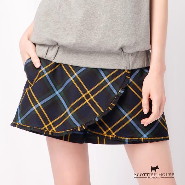 交叉前片造型格紋褲裙 Scottish House【AD2202】
