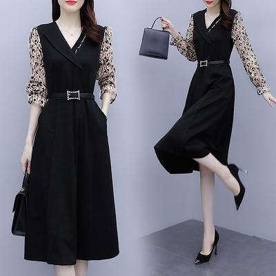 長袖連身裙 M-4XL女神氣質減齡顯瘦收腰高端燙金植絨洋氣洋裝輕熟風秋裝款5682D603A